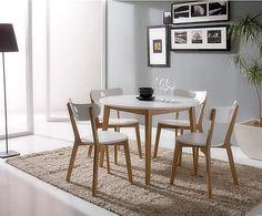 Set de mesa y 4 sillas en madera de haya y DM - blanco