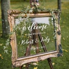 Wedding Welcome Sign /Personalized Couples Names and Dates/Mirror Decal-Bridal Shower/Wedding Welcom Different Wedding Ideas, Cute Wedding Ideas, Vintage Wedding Inspiration, Photobooth Wedding Ideas, Natural Wedding Ideas, Outdoor Rustic Wedding Ideas, Modern Wedding Ideas, Rustic Wedding Details, Country Wedding Photos