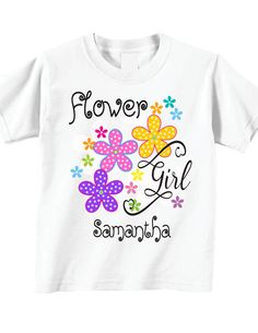 Flower Girl Shirts and Flower Girl Tshirts with by TheCuteTee New T Shirt Design, Shirt Print Design, Shirt Designs, Girls Tees, Shirts For Girls, Flower Girl Shirts, Girls Fall Outfits, Kids Prints, Baby Shirts
