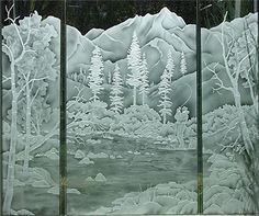 Etched mountains, aspen and evergreen trees bath and shower enclosure