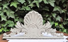 Shabby chic wooden grey pediment  French by LaBourgognedeNath