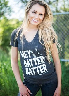 Hey Batter Batter Tee - charcoal