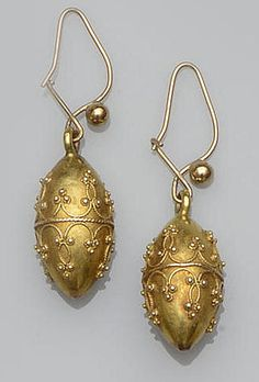 Victorian earrings, gold with applied wire and bead detail