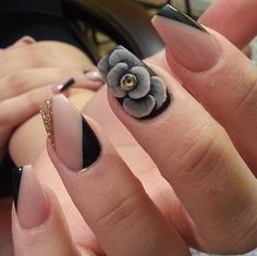 Grey, Nude & Gold 3D Flower