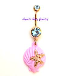 Sold Individually Inspiration Dezigns 14G Ariels Yellow Pink Starfish Shell Belly Button Ring