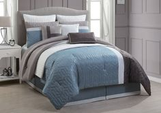 Damien Spa Blue 10-Piece Embossed Quilted Comforter Set. This embossed quilted embroidered comforter set inspires modern simplicity with a luxurious appeal.