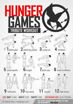 Hunger Games Tribute Workout What it works: shoulders, chest, triceps, abs, obliques, quads, lateral abs, lower back, hip flexors, calves, cardiovascular system. #workout #fitness #newyearnewyou The order and the the number of reps per exercise is the same. permalink: http://neilarey.com/workouts/hunger-games-workout.html
