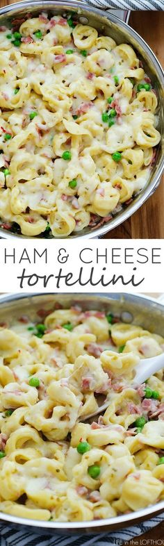 Cheesy tortellini with ham and peas. This will become a family-favorite!: