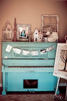 vintage turquoise piano