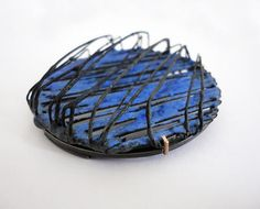 Stacey Bentley - Double Layer Blue Brooch - 2011 - Silver, iron, enamel, stainless steel pin