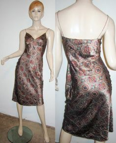 PLENTY 100% Silk Bronze Boho Baroque Print Spaghetti Strap Bias Cut Slip Dress S...http://stores.shop.ebay.com/vintagefluxed