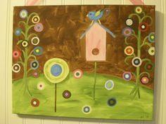 Little pink houses for you and me Bird house Original canvas painting Rustic folk art Handpainted wall artwork Handmade signs Pink brown moss green Polka dots Circles Home decor Home decorating ideas
