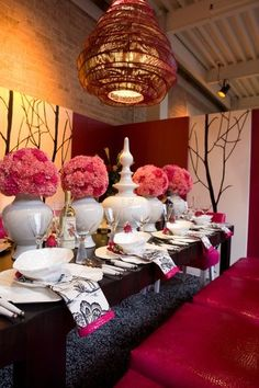Beautiful Table Setting for a Valentine's Dinner Party.  Contemporary dining room by Kohler Jones custom furniture and design.