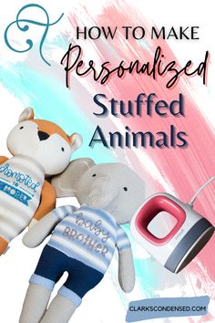 Customize your favorite stuffed animals with iron-on! Here are a few tips for how to use vinyl on stuffed animals! These are all so easy that anyone can do them. Adorable DIY stuffed animals make great gifts for a special little someone.This is a great Cricut DIY project using the EasyPress Mini - great baby shower gift! via #cricut #heattransfervinyl #vinyl #cricutmade #smallbusiness #customshirts #vinylironon