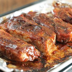 BBQ Country Style Ribs Recipe - Tasty, twice baked ribs with your favorite BBQ sauce. Oven Pork Ribs, Bbq Pork, Pork Roast, Pork Loin, Pulled Pork, Country Style Ribs Oven, Country Ribs Recipe, Baked Ribs, Oven Baked