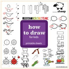 "how to draw for kids - printable sheets Make sure you select ""LANDSCAPE"" mode in your printer settings if needed."