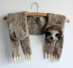 Sloth - felted wool animal scarf by celapiu on Etsy https://www.etsy.com/listing/290807257/sloth-felted-wool-animal-scarf