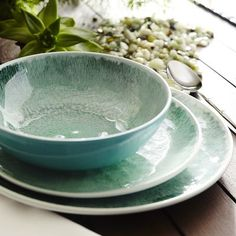 Waterways Melamine Dinnerware - Green
