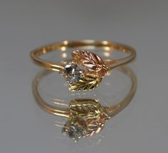 Rose Gold Flower Ring // Vintage Diamond Engagement Ring // Unique Floral Engagment Ring