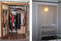 Tiny tiny nursery created in a bedroom closet.