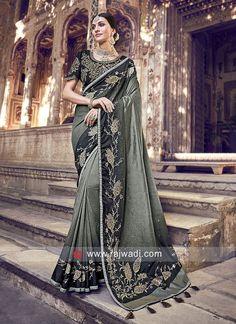 Buy Sage Green Banarasi Silk Saree With Banglori Silk Blouse Online - Art Silk Sarees, Banarasi Sarees, Fancy Sarees, Party Wear Sarees, Blouse Online, Sarees Online, Indian Clothes Online, Indian Designer Sarees, Indian Sarees