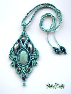 """Macramè necklace """"Psychedelic dream"""" with Amazonite and Labradorite beads"""