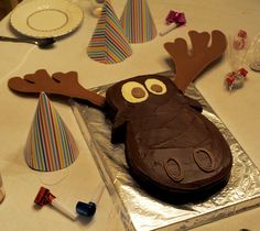 Moose cake for Christian's Alaskan themed birthday party.