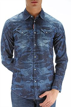 Dsquared2 bring you this camo denim shirt, never before has a denim shirt looked this good!