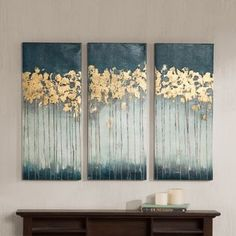Madison Park Midnight Forest Gel Coat Canvas with Gold Foil Embellishment 3-piece Set   Overstock.com Shopping - The Best Deals on Gallery Wrapped Canvas