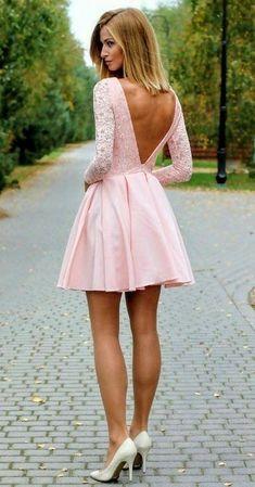 6cb10b851db10 Pink lace Homecoming Dress, Sexy Mini Long Sleeves Party Dress, Deep V back  backless Club Dresses - Thumbnail 1