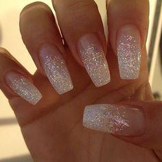 70 top bridal nails art designs for next year glitter wedding nails, white sparkle nails White Glitter Nails, Metallic Nails, Cute Acrylic Nails, Cute Nails, My Nails, Glitter Wedding Nails, Sparkly Nails, Sparkle Acrylic Nails, Wedding Acrylic Nails