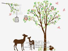 Boy wall decal tree and animal deers owls squirrel birds Nature Tree Wall mural Nursery wall decal children- tree owl brids Z145b Cuma