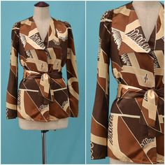 #70sjacket #fashion ~ Vintage jacket, 70s brown satin evening jacket / blouse top, bold geometric printed design,Body conscious / skinny fit, Ossie Clark inspired