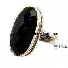 Amani 925 Sterling Silver hi fashion Thousand dollar style Onyx Ring for women