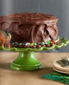Dinosaur cake- Super simple cake- use Dollar store dinosaurs. - Kara's Party Ideas - The Place for All Things Party Dinosaur Birthday Cakes, Dinosaur Cake, Dinosaur Eggs, Dinosaur Fossils, Boy Birthday Parties, Birthday Fun, Cake Birthday, Birthday Ideas, Festa Jurassic Park