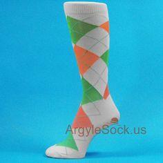 Heather Light Gray Bright Green Light Orange Men Argyle Sock