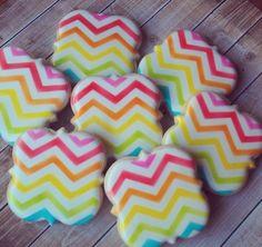 Rainbow chevron cookies by Sweet Baketique