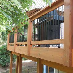 Metal Deck Railing, Deck Railing Systems, Deck Railing Design, Patio Deck Designs, Porch Ideas, Patio Ideas, Outdoor Rooms, Outdoor Living, Woodstock Ga