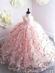 View All Gowns at Anna Triant Couture, Page 5 Little Girl Gowns, Gowns For Girls, Frocks For Girls, Little Girl Dresses, Flower Girl Dresses, Girls Pageant Dresses, Lace Flower Girls, Kids Dress Wear, Kids Gown