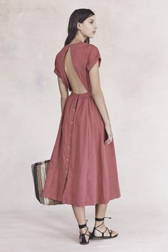 your sneak peek at madewell's spring 2016 collection: pink cut-out midi dress, striped straw tote bag + leather lace-up sandals. pre-order your favorites now by calling 866-544-1937 (434-385-5792 for our international friends) or email shopfirst@madewell.com to get first dibs  #everydaymadewell