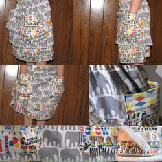 super easy Carnival Skirt  alex's next birthday party is going to be a carnival theme. i found this awesome fabric on spoonflower.com designed by pennycandy. the color scheme and theme are perfect. i had the fabric well before i knew what exactly i was going to make with it. the plan for alex's party is to have it at a bounce house place so she needs to be able to play and jump around a lot. i decided to make this super easy market style skirt. so i had three fabrics that i could coor