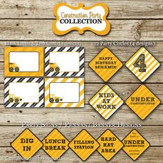 Dump Truck Construction Birthday Party Pack by designingforpeanuts