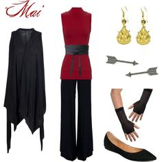 What a modern Mai might dress like. Avatar: The Last Airbender Mai, not the other one. Polyvore is too much fun!