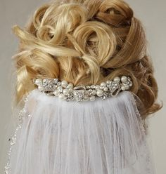 Pearl Bridal Comb - Love this look above the veil!  Visit affordableelegancebridal.com for fabulous wedding accessories!