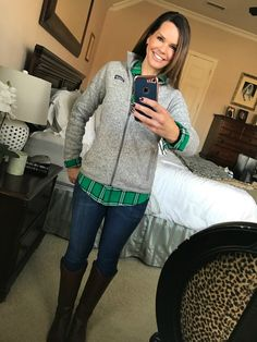 Patagonia jacket, plaid shirt, jeans and riding boots.  Alison's Friday Favorites http://getyourprettyon.com/alisons-friday-favorites-012717/?utm_campaign=coschedule&utm_source=pinterest&utm_medium=Alison%20Lumbatis%20%7C%20Get%20Your%20Pretty%20On&utm_content=Alison%27s%20Friday%20Favorites
