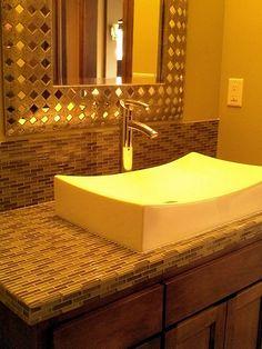 Ldk Basement Bar Bathroom With Glass Mosiac Tiled Countertop And Backsplash Beautiful Framed Mirror