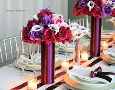Tall Centerpiece for wedding reception guest tables in jewel tones, plum, purple and magenta Pink Wedding Centerpieces, Low Centerpieces, Wedding Decorations, Tall Centerpiece, Magenta Wedding, Purple Wedding Flowers, Wedding Flower Guide, Flower Bouquet Wedding, Wedding Ideas
