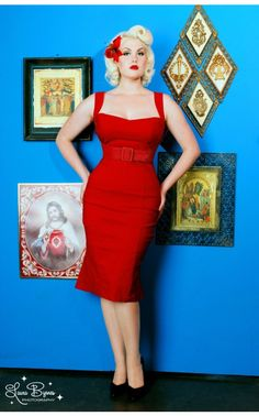 I know i look better in greens and blues, but there's just something so perfect about a red wiggle dress for pinup. and it has my name :) Jessica Wiggle Dress in Vintage Red by Pinup Couture - Dresses - Clothing | Pinup Girl Clothing