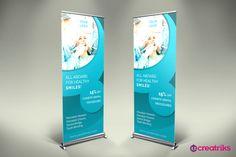 Dental Clinic Roll Up Banner - v014 by Creatricks on @creativemarket