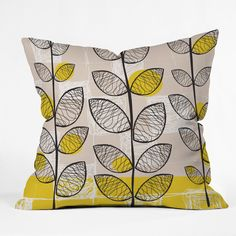 Features:  Product Type: -Throw pillow.  Color: -Yellow.  Style: -Contemporary.  Shape: -Square.  Cover Material: -Polyester/Polyester blend.  Fill Material: -Polyester/Polyfill.  Theme: -Nature.  Cou